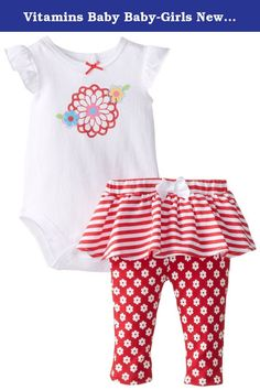 Vitamins Baby Baby-Girls Newborn Flower and Strip 2 Piece Skegging Set, Red, 6 Months. Floral screen printed 2 piece skegging set with flutter sleeve top and stripe and floral printed bottoms.