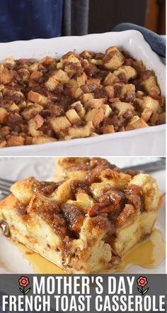 Bake up a French toast casserole for your Mother's Day brunch. Delicious make ahead breakfast or brunch idea to celebrate with Mom! day brunch ideas make ahead Mother's Day French Toast Casserole Blueberry French Toast Casserole, Baked French Toast Casserole, Easy Baked French Toast, Crock Pot French Toast, Baked French Toast Overnight, French Toast Caserole, French Toast Slow Cooker, Make Ahead French Toast, Cinnamon French Toast Bake