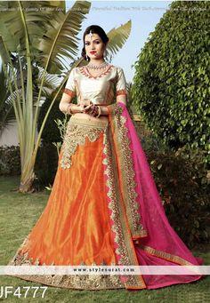 Opulent Orange Shimmer A Line Lehenga Choli