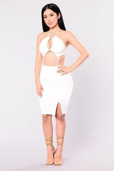 I'm Outside Halter Dress - White