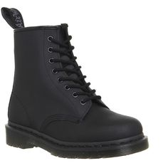 Dr. Martens 8 Eyelet Lace Up Boots ($100) ❤ liked on Polyvore featuring shoes, boots, ankle booties, ankle boots, black ajax, women, short black boots, black ankle boots, black boots and black bootie