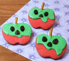 Disney Snow White Poisoned Apple Cookies.  Very cute.  Sugar cookie with a pretzel for the stem and raisins for the face (instructions linked on page, but no recipe for the sugar cookie dough).