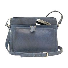 Genuine Soft Leather Cross Body Bag with Front Organizer Wallet, Jeans Blue  BUY NOW     $85.80    This genuine leather shoulder bag has a front organizer pocket and silver hardware, top zipper main compartment, wall safety z ..  http://www.welovefashion.top/2017/03/21/genuine-soft-leather-cross-body-bag-with-front-organizer-wallet-jeans-blue/
