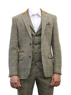 "Mens Marc Darcy Designer Brown Tweed Herringbone Checkered Vintage 3 Piece Suit (34"" JKT 30"" WAIST 31"" LEG, Tan)"