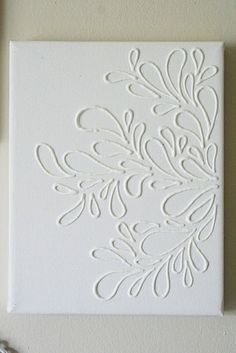 Draw with glue on canvas and then paint the canvas. :) http://media-cache5.pinterest.com/upload/264164334362957080_Un6HTFbA_f.jpg jwnuk3 things i ll do