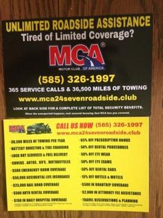 MCA is a unique motor club serving the United States, Canada, and Puerto Rico. MCA offers 24/7 emergency roadside assistance plans, membership discounts, and the most reliable service in the auto club industry. With over 90 years of experience, we