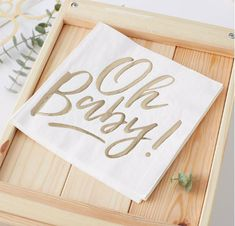 Oh Baby Baby Shower Napkins for the perfect gender neutral gold baby shower. Beautifully complements our Oh Baby Baby Shower party range. Décoration Baby Shower, Baby Shower Napkins, Fiesta Baby Shower, Party Napkins, Shower Party, Baby Shower Parties, Shower Favors, Shower Games, Shower Invitations