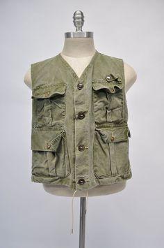 vintage fishing hunting vest canvas REMEVR-DRI by goodbyeheart