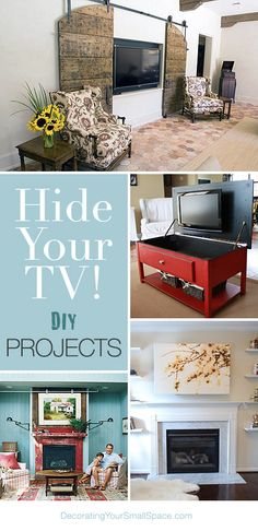 Hide Your TV! • DIY Projects • Lots of Ideas & Tutorials! Don't always have it out. Spend time with people not in front of tv.