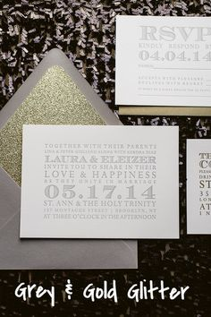 KARA Suite Glitter Package, grey and gold wedding invitation, glitter wedding invitations, letterpress wedding invitations, http://justinviteme.com/collections/styled-collections/products/kara-suite-styled-glitter-package