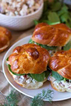 Freshly minced dill, toasted walnuts and Greek yogurt are the secret ingredients that make this chicken salad so good! These autumn chicken salad sandwiches are perfect for special occasions or family dinners.