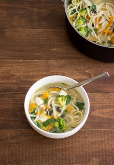 Quick Tofu, Noodle, and Vegetable Miso Soup | Handful of Raspberries