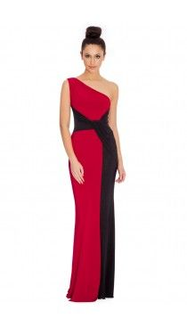 Draped One Shouldered Maxi Dress - Red - Front