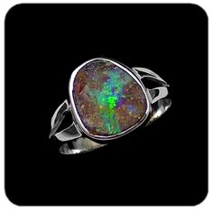 Delicate green flash of opal color contrasted with boulder ironstone set in sterling silver. Ref code: 5420. Opal ring - SOLD- suit ladies or gents fashion jewelry (jewellery)