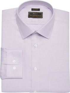 Reserve Collection Tailored Fit Spread Collar Textured Dress Shirt - B