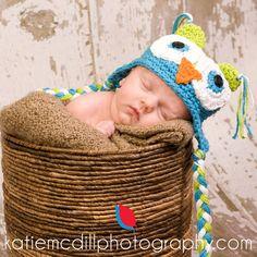 Crochet Boy Owl HatLime and Aqua by honeybeehats on Etsy, $22.50