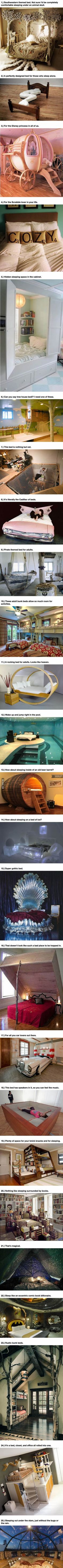 "Warning: These 25 Amazing Beds Will Make You Wish It Was Nap Time. - love the last ""bed under the stars"""
