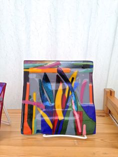Abstract Art Deco Fused Iridescent Glass Square Dish