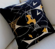 Retro Barkcloth Pillow Cover  Haley's Comet    by atomiclivinhome, $78.00