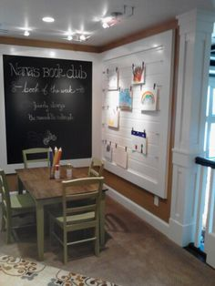 Great kids corner - wire to rotate art, chalkboard, table & chairs, etc.