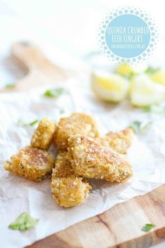 Quinoa crumbed fish fingers Fish fingers are a favourite from way back. But there's no need to use frozen or pre packaged when you can make your own in 10 – 15 minutes. Harry absolutely loves eating there and he helps make them too. They're a great recipe to make with the kids they love …