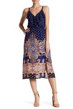 Image of Bobeau V-Neck Ruffle Dress