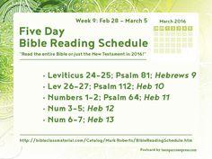 Full schedule: http://bibleclassmaterial.com/Catalog/Mark%20Roberts/BibleReadingSchedule.htm