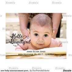 new baby announcement postcard personalized