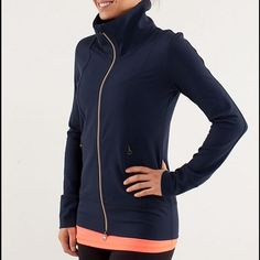 Lululemon Daily Yoga Jacket-ask for 1.99 ship Lululemon daily yoga jacket, size 8, great  condition with no flaws, dark navy blue, super soft and comfortable, 2 zip pockets in front, zips up in front and keeps your neck warm, bundle to save-ends tonight. Will give you 1.99 shipping at this price lululemon athletica Jackets & Coats