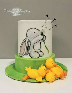 Little rabbit - cake by Cakes by Evička Fancy Cakes, Cute Cakes, Beautiful Cakes, Amazing Cakes, Fondant Cakes, Cupcake Cakes, Rabbit Cake, Baby Birthday Cakes, Painted Cakes