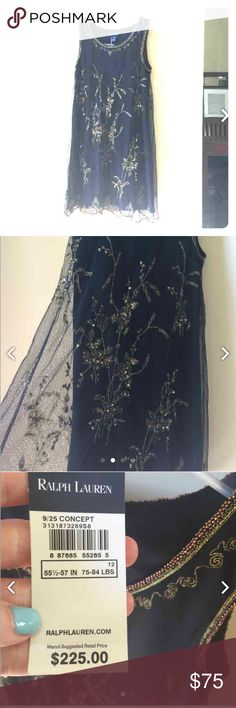 Ralph Lauren girls formal dress, size 12, NWT Beautiful, black and gold dress with sequence overlay. Perfect for weddings or formals Ralph Lauren Dresses Formal