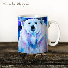 Polar Bear Mug Watercolor Ceramic Mug Bear Unique Gift Coffee Mug... ($16) ❤ liked on Polyvore featuring home, kitchen & dining, drinkware, drink & barware, grey, home & living, ceramic tea cups, animal coffee mugs, ceramic mugs and animal mugs