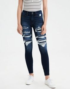 Christmas gifts I would love AE 360 Ne(X)t Level High Waisted Jegging by American Eagle Outfitters Cute Ripped Jeans, Ripped Jeggings, High Jeans, High Waist Jeans, Women's Jeans, Jeans Size, Outfit Jeans, Crop Top Outfits, Jean Outfits