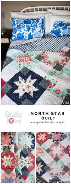 North Star quilt pattern by Emily of quiltylove.com. Fat quarter friendly star quilt. Baby, Throw and queen sizes. The North Star is made using Bonnie and Camille The Good Life fabric.