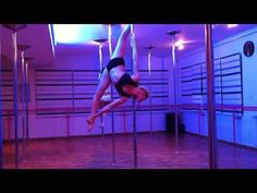 Pole combo on the spinning pole by Anastasia Skukhtorova. #poledance #poletricks #polecombo