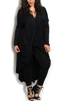 DHStyles Women's Black Plus Size Sexy Twist Front High-Low Knit Maxi Tunic Dress - 1X Plus #sexytops #clubclothes #sexydresses #fashionablesexydress #sexyshirts #sexyclothes #cocktaildresses #clubwear #cheapsexydresses #clubdresses #cheaptops #partytops #partydress #haltertops #cocktaildresses #partydresses #minidress #nightclubclothes #hotfashion #juniorsclothing #cocktaildress #glamclothing #sexytop #womensclothes #clubbingclothes #juniorsclothes #juniorclothes #trendyclothing…