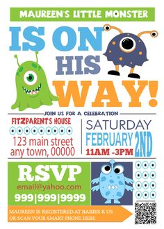 and stuff like that there: Monster baby shower invite
