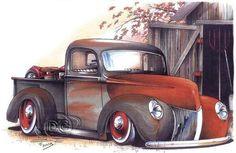 Vintage 1940 Pickup Custom Hot Rod Adult Unisex T Shirt Brent Gill Design POS164