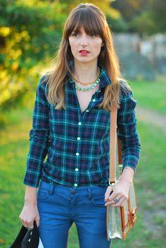 Flannel button down @J.Crew Mettalic bag @Brahmin Crystal necklace @J.Crew