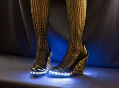 Steampunk Heels are equipped with gears, tubes and LED lights