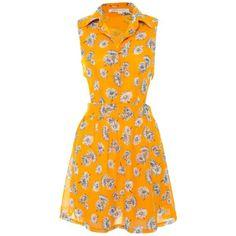 Glamorous Yellow Floral Cut Out Shirt Dress