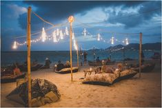 Mini Bar night time lighting, private set-up on the beach for marriage proposal, Koh Samui Beach Bar, Chill out on bean bags