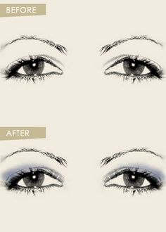 The secret to lifting down-turned eyes is to draw attention to your eyelids and play down the droopy contour of the eyes.