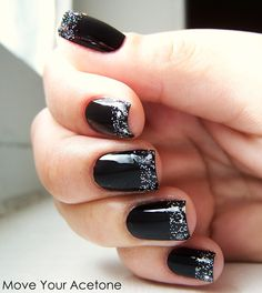 Funky french manicure, black with glitter tips