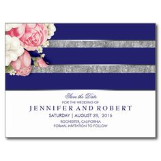 Floral Vintage Navy White and Silver Save the Date