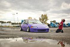 that purple civic Street Racing Cars, Civic Eg, Girls Driving, Honda Cars, Car Manufacturers, Honda Civic, Subaru, Jdm, Race Cars