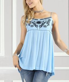 Look what I found on #zulily! Blue & Navy Embroidered Swing Tank - Plus Too #zulilyfinds