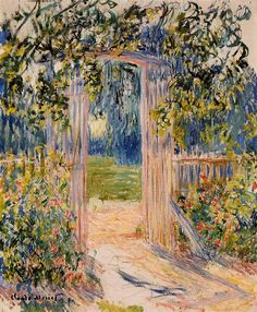 "artist-monet: ""The Garden Gate, Claude Monet "" Pierre Auguste Renoir, Claude Monet, Manet, Monet Paintings, Landscape Paintings, Flower Paintings, Artist Monet, Camille Pissarro, Edgar Degas"