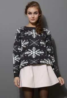 Snowflake Pattern Knit Sweater in Grey