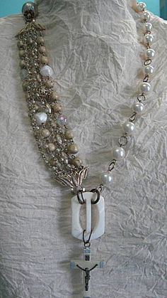 Vintage Assemblage Necklace Ivory and White by StRageJewelryCo, $45.00